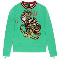 Gucci Tiger Embroidered Knit Top ($1,900) ❤ liked on Polyvore featuring tops, sweaters, green, star print top, embroidery top, gucci tops, knit top and green top