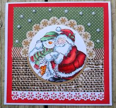 christmas hugs by Magouille - Cards and Paper Crafts at Splitcoaststampers Christmas Crafts, Xmas, Art Impressions, Creations, Paper Crafts, Cards, Snowman, Handmade Christmas Crafts, Yule