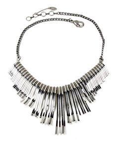 Loving this Silvertone & Gunmetal Aphrodite Bib Necklace on #zulily! #zulilyfinds