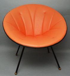 Mid Century Modern Island Cane Orange Leather Chair