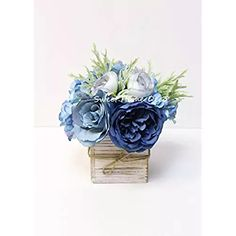 Sweet Home Deco 8'' Silk Rose Peony Hydrangea Mixed Flower Arrangement w/ Wood Vase Wedding Home Decorations (Blue)