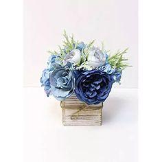 Sweet Home Deco 8'' Silk Rose Peony Hydrangea Mixed Flower Arrangement w/ Wood Vase Wedding Home Decorations (Blue)