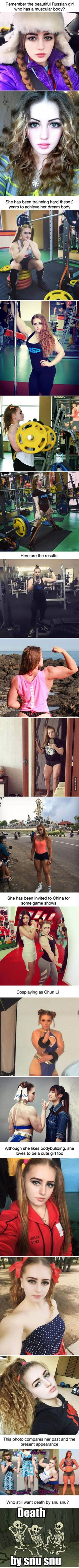 Remember the muscular Russian girl? This is her latest evolution