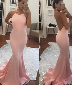 2017 Halter Mermaid Long Prom Dress ,Open Back Evening Dress,Pink Party Dress,Cheap High Quality
