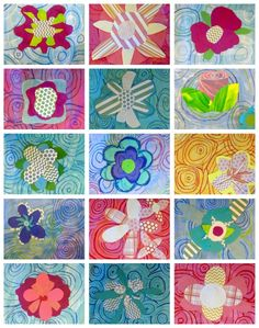 O'keeffe inspired graphic flowers. Oil pastels and water color with patterned paper. great school hall display for spring.