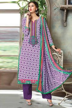 Purple,White Cotton Trouser Suit With Chiffon Dupatta Price:-£39.00 Purple and white cotton print, semi stictch trouser suit. Neck embroidered with resham.  Asymmetrical neck, below knee length, three quarter sleeve kameez.   Purple trouser with work.   Purple and white chiffon dupatta with work.  It is perfect for festival and casual.  http://www.andaazfashion.co.uk/purple-white-cotton-trouser-suit-with-chiffon-dupatta-dmv13341.html