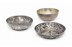 THREE FINE SILVER BOWLS OTTOMAN GREECE OR BALKANS, 18TH CENTURY Each of shallow form, two with re