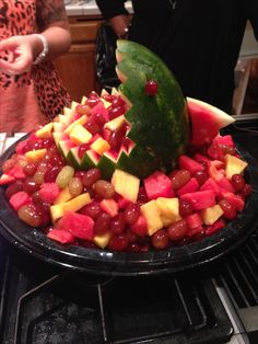 Makena's first luau birthday party - fruit shark! So easy to make and big hit at party.