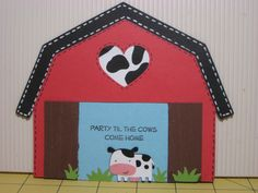 Adorable barn card with cow.  I will definitely make this for my friend who collects cow stuff.  Cuttlebug was used for the barn doors but I'm sure you have other embossing folders that can be used for this project!  No cricut needed, the barn shape is easy to trace and cut.