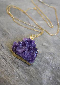 BRAZIL amethyst druzy necklace by shopkei on Etsy, $50.00