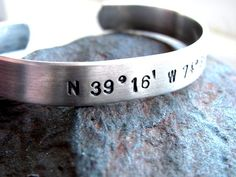 Latitude Longitude Bracelet PERSONALIZED to by charminginitials, $22.00    Maybe with the coordinates of where we met or where we were married...