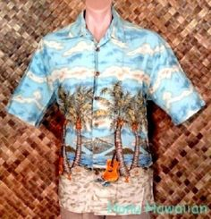 KAHALA DON RAY COLLECTION mens HAWAIIAN UKULELE BEACH PALM BORDER Print Shirt -M #KahalaDonRayCollection #Hawaiian