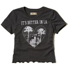 Hollister Cropped Graphic Baby Tee (1,135 INR) ❤ liked on Polyvore featuring tops, t-shirts, dark heather grey, graphic design tees, crewneck tee, graphic tops, crop top and crop tee