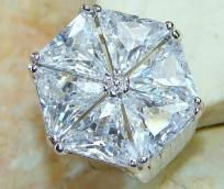 Bold 20+ ctw White Topaz Ring~Solid 925 SS~Sz. 8.25~Heirloom Piece! Sale! Hurry!