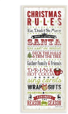 'Christmas Rules' Wall Art - Drink Cocoa - No Crying No Pouting #affiliate