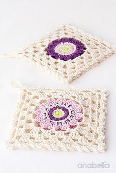 Japanese inspiration crochet - Flower square coasters, Anabelia I #crochet…