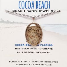 """Cocoa Beach Sand Jewelry Cocoa Beach in Florida is Orlando's closest beach. It's also home to the world famous """"Ron Jon Surf Shop"""". The pier is a great place to walk around and if you pick the right d"""