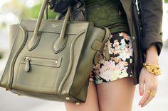 Celine handbag. Floral shorts. Gold bracelet