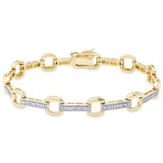 Finesque Gold Over Sterling Silver Diamond Accent Square Link Bracelet
