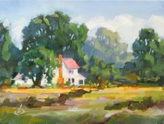 SECLUDED COUNTRY HOME 6x8 INCH ORIGINAL OIL PAINTING by TOM BROWN, painting by artist Tom Brown