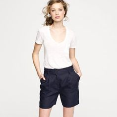 White T and linen shorts