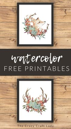 Grab these FREE fall woodland watercolor printables to decorate your home. Rustic fall wall art.