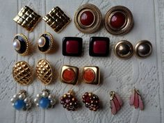 Mixed Lot Earrings Ginnie Johansen Erwin Pearl Moonglow Thermoset Plastic VGC #GinnieJohansenErwinPearl #Vintage