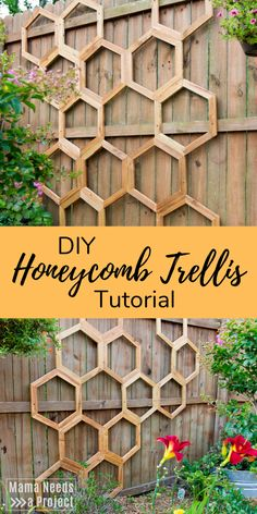 Add character to your garden with this DIY garden trellis. The honeycomb shape is perfect fence art Diy Trellis, Garden Trellis, Trellis Fence, Trellis Ideas, Herbs Garden, Woodworking Tutorials, Woodworking Plans, Woodworking Crafts, Unique Woodworking