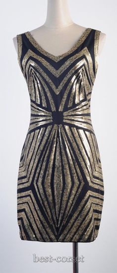 1920's Flapper Dress Great Gatsby Sequin Art Deco Gold Black Clubwear 3235 | eBay