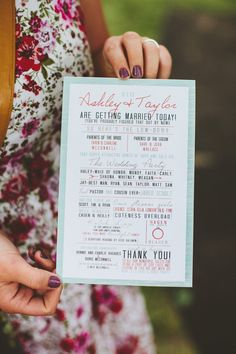 Spice up the traditional wedding ceremony program with some clever