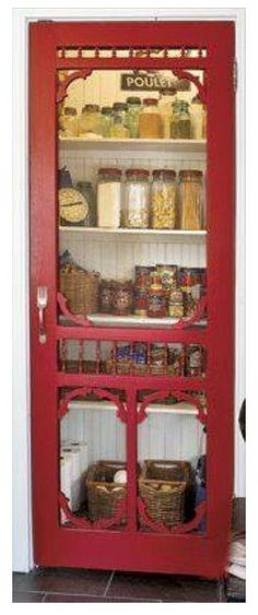 Awesome fly screwn door on the pantry so you can see what you've got