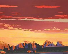 Terry Rafe Secret Mountain Wilderness at Sunset Western Landscape, Simple Colors, Easy Paintings, Geology, Wilderness, Art Inspo, National Parks, Sunset, Contemporary