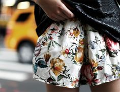 love these flowery shorts...teamed with black leather