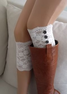 White lace boot cuffs with button boho boot socks lace cuffs women's accessory