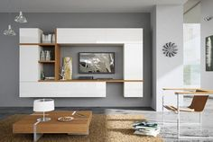 contemporary lacquered TV wall system SISTEMITALIA GROUP