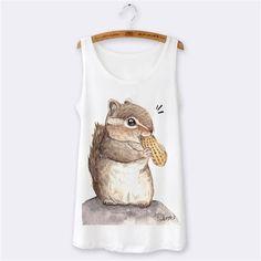 Women Tank Tops Summer 2016 Sexy Sleeveless Top Animal 3D Print Totoro Panda Cartoon O-neck Camisole White Slim Vest Top