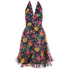 Preowned 1970's Oscar De La Renta Floral Organza Multi-layered Halter... ($750) ❤ liked on Polyvore featuring dresses, day dresses, multiple, halter dresses, vintage neck ties, vintage day dress, tie neck tie and vintage halter tops