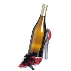 Red Leopard High Heeled Shoe Bottle Holder Red Leopard, Wine Bottle Holders, Wine Parties, Wine Stoppers, Red Wine, Shoe, Heels, Girlfriends, Lovers