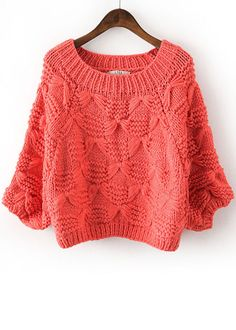 Red Batwing Sleeve Bow Inset Knit Sweater - Sheinside.com