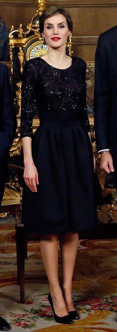 Queen Letizia - Night style - Felipe Varela top - Hugo Boss skirt - Magrit shoes - Grisogono earrings