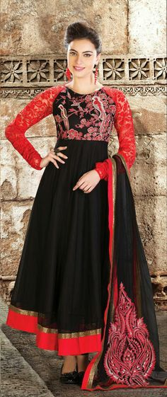 USD 169.34 Black Net Long Length Anarkali Salwar Suit 30566