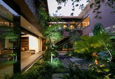 Modern Landscaping Modern Architecture Exterior Staircase Modern Mexican Build With Tropical Gardens. Modern Landscaping Mexican Build With Tropical Gardens Exterior House Architecture Design Brick Architecture, Landscape Architecture Design, Contemporary Architecture, Futuristisches Design, Loft Design, Porch Kits, Mexico House, Internal Courtyard, Building A Porch