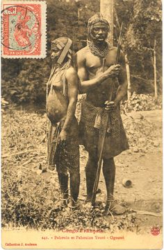 ''French Congo. Pahouin man and Pahouine Yeuoi woman - Ogooué''. ca.1905