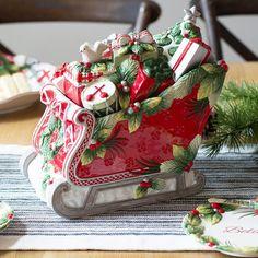 Tartan Christmas Sleigh Cookie Jar