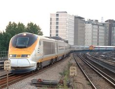 A Eurostar train at Vauxhall shortly after departing from the old terminus: London Waterloo International