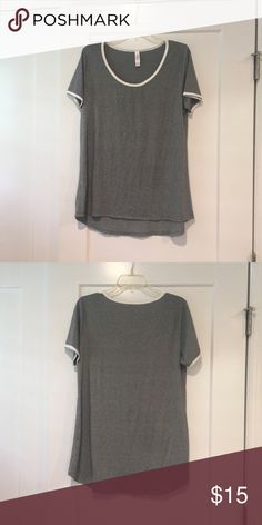 LULAROE CLASSIC T LULAROE CLASSIC T gray with white piping around top and arms, feels super soft. LuLaRoe Tops