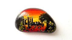 Painted Rock, Southwestern Art, Sunset, Cactus, Arizona, Landscape, Art Rocks, Painted Stones, Garden Rocks, Garden Art