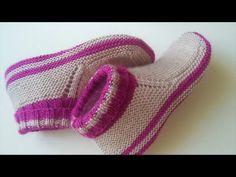 örmesi kolay giymesi çok rahat /iki şiş ile kolay çorap yapılışı / örme çorap - YouTube Crochet Baby Sweater Pattern, Baby Sweater Patterns, Baby Knitting Patterns, Knit Crochet, Knitted Slippers, Slipper Socks, Crochet Stocking, Crochet Bedspread, Baby Sweaters