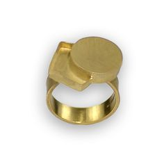Daphne Krinos at Patina Gallery. Ring, Positive Negative, 18 Karat Yellow Gold, 5mm ring shank, size 6.25