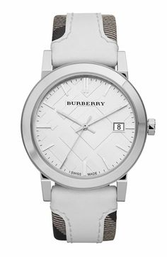 Suzi Says: A little over the budget, but worth it...Burberry 'Large' Stamped Leather Strap Watch available at #Nordstrom Luxury Watches, Check Fabric, Watch Sale, Jewelry Accessories, Men's Jewelry, Burberry Watch, Jewelry Watches, Watch Photo, White Leather